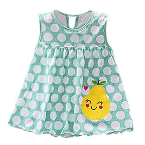 MOIKA Baby Mädchen Kleider, (0-24Monate) Kleinkind Cute Baby Baumwolle Blumenkleid Sommerkleidung Kinder Dot Striped Tees Kleid Niedlich Smiley Drucken T-Shirt Schlafanzug Bodys & Einteiler
