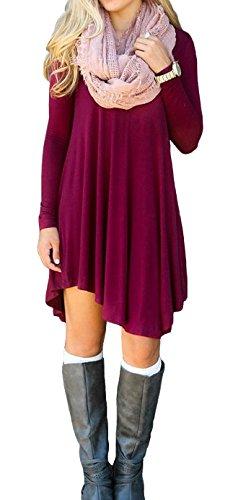 LILBETTER Frauen Langarm-V-Ausschnitt-beiläufige lose T-Shirt-Kleid (Weinrot S)