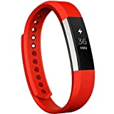 Ansenesna Ersatz Silikon Zusatz Armband Verschluss + Schutzfolie für Smartwatch Und Sportuhr Fitbit Alta HR (Rot)