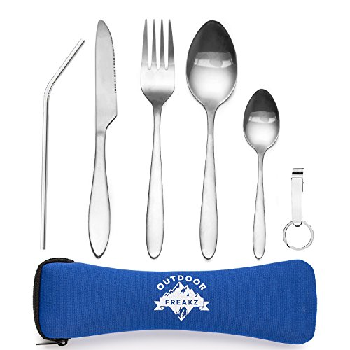Outdoor Freakz outdoor travel and camping stainless steel cutlery set with neoprene sleeve, blau ++