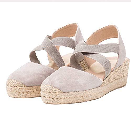 Lueyifs Damen Espadrille Plateau Sandalen Keilabsatz Sandalen Mittlerer Ferse (Frauen Kleid Schuhe Größe 11)