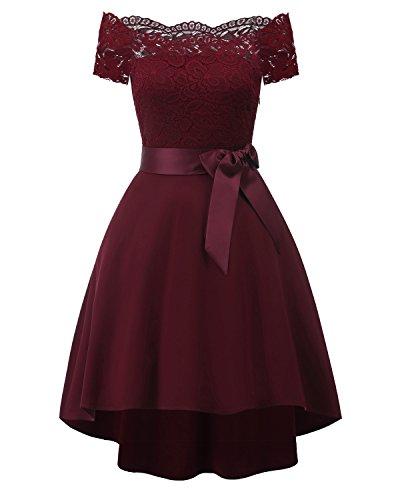 KAXIDY Damen Kleider Damen Spitze Patchwork Schulterfrei Elegant Cocktailkleid (Wein-Rot, Small)