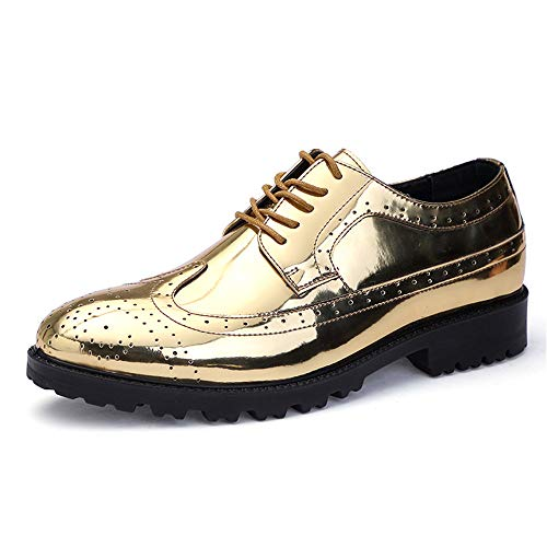 Apragaz Mode Herren PU-Leder Helle Vamp Lace Up Atmungsaktive Schuhe (Color : Gold, Größe : 42 EU)