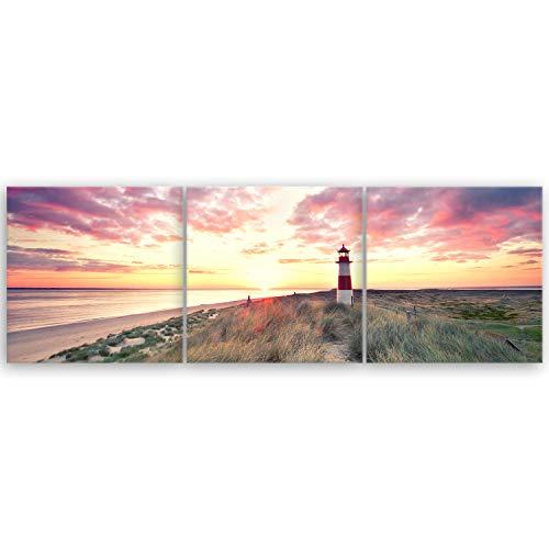 ge Bildet® hochwertiges Leinwandbild Panorama Panorama XXL Naturbilder Landschaftsbilder - Leuchtturm auf Sylt - Strand Natur Sonnenuntergang - 150 x 50 cm mehrteilig (3 teilig) 2213 T