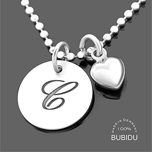 Namenskette Silber mit Gravur ❤️Gravurschmuck Silberschmuck Herz ❤️ Initialien Kette Initialen Schmuck Buchstabe Namensschmuck moderne Gravurkette online | HANDMADE IN GERMANY