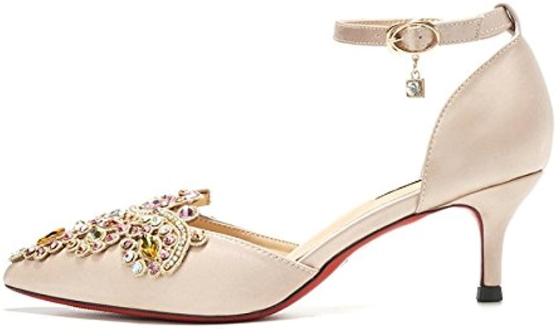 Frauen Hollow High Heels Sandalen Champagner Braut Hochzeit Kristall Schuhe