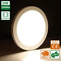 Oeegoo 24W LED Plafón de Superficie Ronda Lámparas de Techo 2040 Lúmenes - Reemplaza Bombilla Incandescente 180W RA> 80 Blanco Natural (4000-5000K) Φ29*H1.3CM