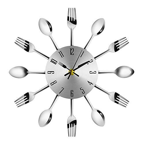 ASDJLK Einrichtungsgegenstände Silent Edelstahl Geschirr Uhren Gabel und Löffel Gartenuhr Restaurant Simple and Simple Wild Clock