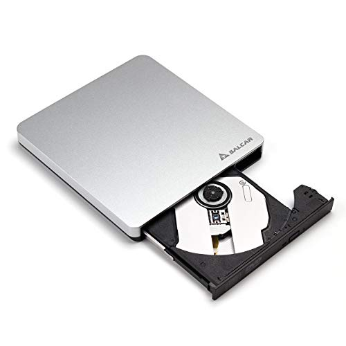 SALCAR Externes DVD Laufwerk USB 3.0 Multi DVD/CD Brenner für Notebook/Laptop/Desktops unter Windows Vista/XP/7/8/8.1/10/Linux und Apple MacBook Pro, MacBook Air, iMac OS, Silber
