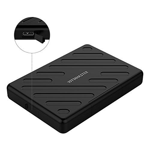 [ UASP & 2TB & Werkzeuglose ] Yottamaster Externes Festplatten Gehäuse 2tb 2.5zoll USB 3.0 für SATA HDD/SSD 7mm 9.5mm Anti-Spritzwasser,Staubdicht,Stoßfest -Schwarz 7mm Festplatte Gehäuse