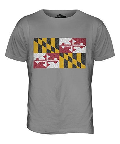 CandyMix Bundesstaat Maryland Kritzelte Flagge Herren T Shirt Hellgrau