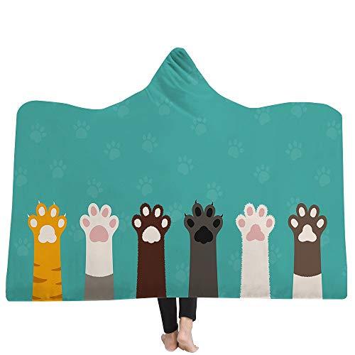 Grea schöne Katze 3D gedruckt Muster mit Kapuze Decke warme tragbare Fleece werfen Decken werfen Decke in Cap-2,150x200cm (Decke Katze Fleece Werfen)