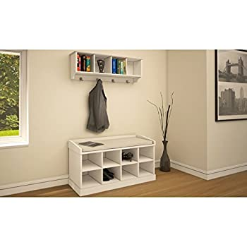 Kempton Hallway Storage Bench And Wall Storage Shelf Rack With