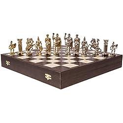 Square - Ajedrez - Romano - Metal Lux - Tablero de ajedrez de Madera - Wenge