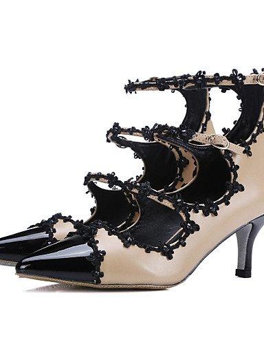 WSS 2016 Chaussures Femme-Habillé / Décontracté / Soirée & Evénement-Amande-Talon Cône-Talons / Bout Pointu-Talons-Cuir almond-us6 / eu36 / uk4 / cn36