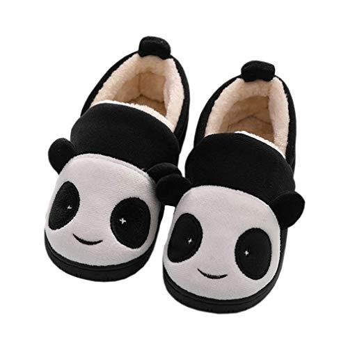Zapatillas de Estar por Casa para Niñas Niños Invierno Zapatillas Interior Casa Caliente Pantuflas Suave Algodón Calentar Zapatilla Mujer Hombres Negro 32-33 EU (Fabricante: 220)