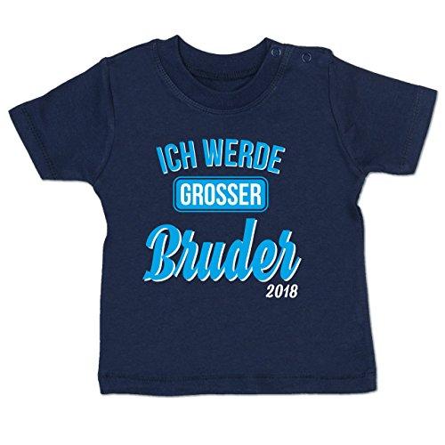 Shirtracer Geschwisterliebe Baby – Ich Werde Großer Bruder 2018-18-24 Monate – Navy Blau – BZ02 – Babyshirt Kurzarm