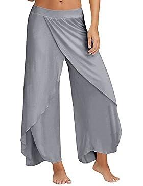 ACHIOOWA Mujer Pantalones Yoga Verano Palazzo Deportivo Largos Bombacho Elegante Casual Oficina Baggy Pants