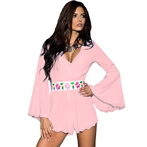 meinice Bell Maniche Pizzo smerlato Trim Belted Playsuit Pink