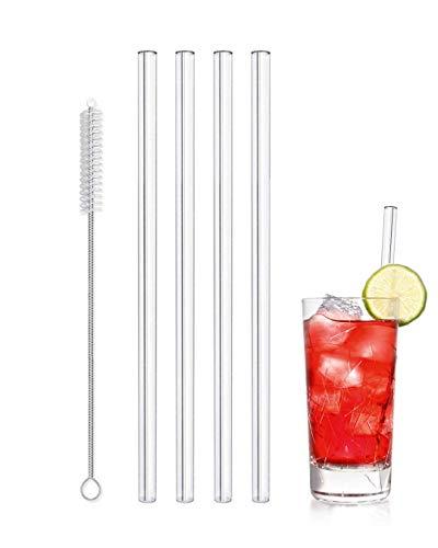 Amodoo Glas Strohhalm 4er Set + Reinigunsbürste - gerade Glastrinkhalme Glasstrohhalme 20 cm - Bruchsicher - Wiederverwendbar - Spülmaschinenfest - Umweltfreundlich, Gesund, Plastikfrei (Gläser Dekorationen Mason)