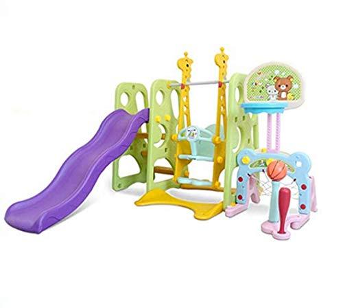 Thole 6 in1 Kinder Spielplatz Schaukel mit Rutsche und Basketballkorb Kombination für Indoor/Outdoor Garten Rutschbahn,Green