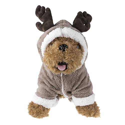 (dPois Haustier Winter Outfit Mantel Warm Kleidung Overall Hundebekleidung Hundemantel Jacke Pet Supplies Hunde Katzen Mode Pullover Mit Kapuze (Hase/Schaf/Elch) Coffee L)
