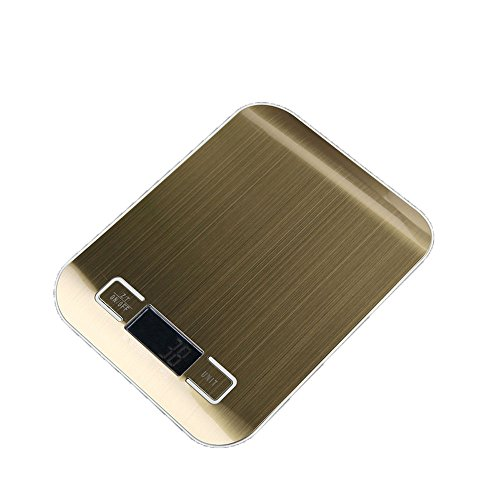 ZCH Flache Edelstahl Elektronische Küchenwaage 1G Hohe Präzision Küche Elektronische Skala Backskala,Gold