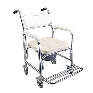 HENGMEI Rollstuhl Fahrbarer Toilettenstuhl Duschstuhl Nachtstuhl auf Rollen Transportrollstuhl 360°C Drehbar mit Feststellbremse
