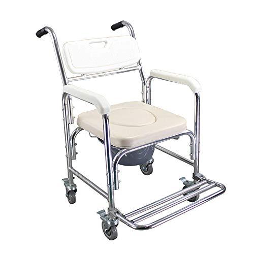 duschstuhl fahrbar HENGMEI Rollstuhl Fahrbarer Toilettenstuhl Duschstuhl Nachtstuhl auf Rollen Transportrollstuhl 360°C Drehbar mit Feststellbremse (Modell A, 360°C Drehbar)