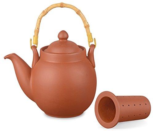 Preisvergleich Produktbild Ton Teekanne Tenno 0,8 liter mit Tonsieb und Bambushenkel, Handgefertigt, Original Aricola®