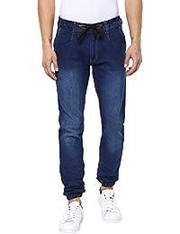 Urbano Fashion Men's Blue Slim Fit Stretch Jogger Jeans