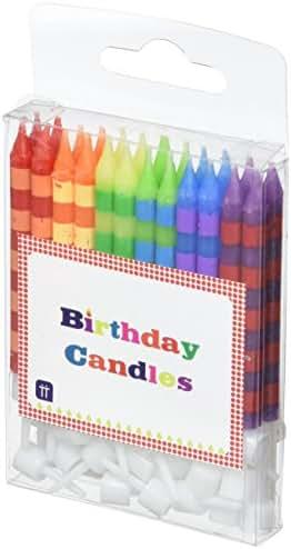 Talking Tables Birthday bash lot de 24 bougies pour anniversaire 24 piques inclus motif rayures