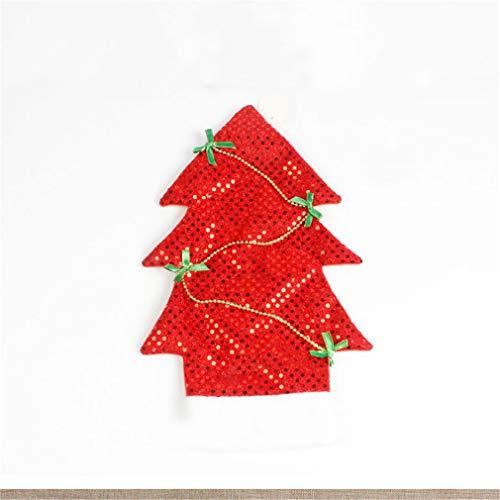 Weisin Bogen Pailletten Flasche Abdeckung Weihnachtsfeier Bankett Weihnachtsbaum Form Rotwein Set Farbe Tisch Zubehör für Restaurant,rot -
