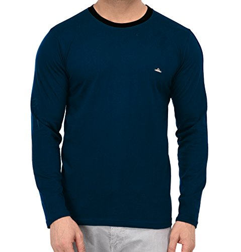 Fenoix Men's Cotton Round Neck Full Sleeve T-Shirt (Large)