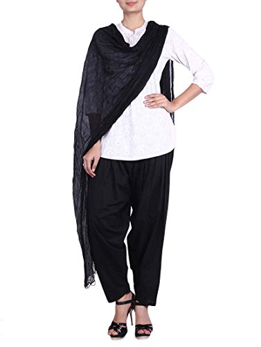 Stylenmart Cotton Black Semi Patiala Pants with Dupatta