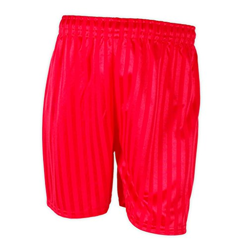 Kinder Unisex Sport- / Fußballshorts, Schattenstreifen rot Bright Red Large (7-8 Jahre) -