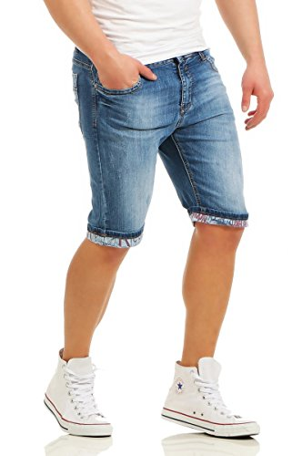 Fashion4Young Herren Bermuda Jeans Hose Denim Shorts Usedlook Freizeithose Herrenbermudas Destroyed 11080-blau