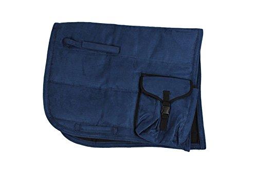 QHP Sattelpad Puff Pad mit Tasche Suedine absorbierende Unterseite viele Farben (Warmblut, Navy)