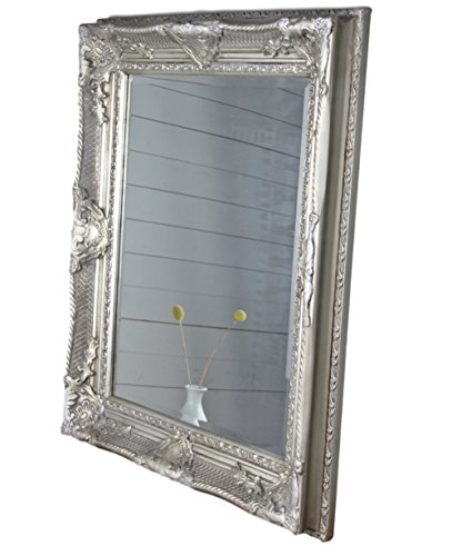 Spiegel antik 78x68cm Holz Wandspiegel barock Badspiegel Standspiegel (Silber, 78 x 68 x 6 cm) (Möbel Licht Gold Bad)