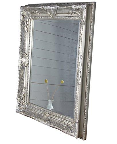 Spiegel antik 78x68cm Holz Wandspiegel barock Badspiegel Standspiegel (Silber, 78 x 68 x 6 cm)