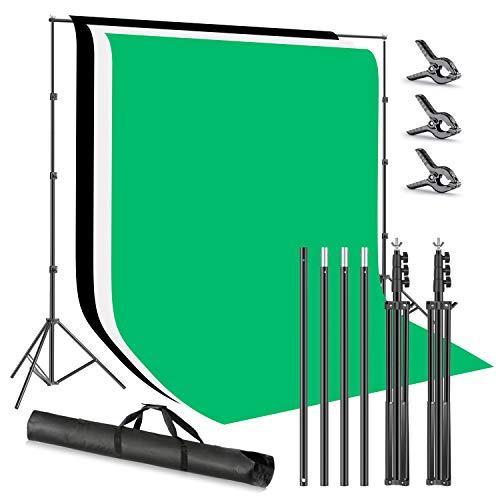 Neewer Foto Studio 2,6x3m Hintergrundstativ Hintergrundstützsystem mit 1,8x2,8m Polyester-Hintergrundklemmen (weiß schwarz grün) und Tragetasche für Produktporträt Videoaufnahmen