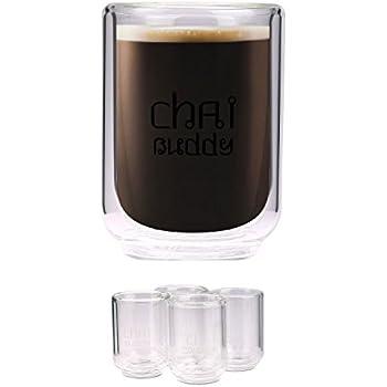 Set de 4 x Tasses de 220ml à Double Paroi de Verre pour Café / Thé Cappuccino / Latte par CHAI BUDDY