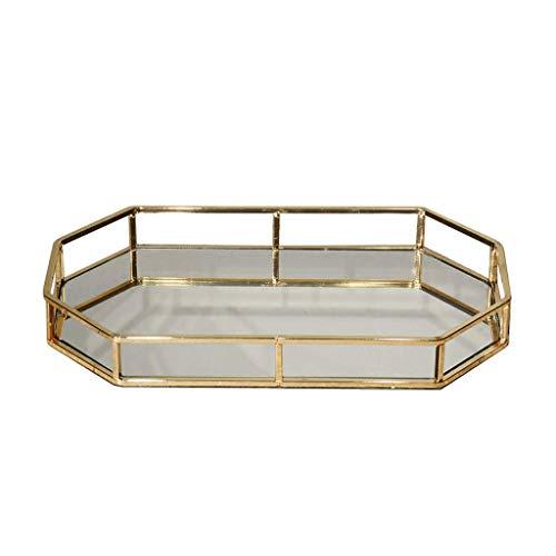 GWM Octagon Schmuck Tablett, Spiegelglas Trinket Dish Speicherorganisator Tablett Schmuck Dish Makeup Serving Parfüm Tablett (Size : 43.2×22× 5 cm) Gold-serving Set