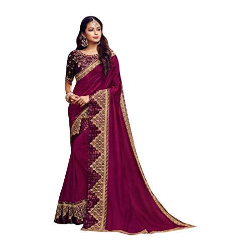 Indian Party Wear Sarees (ETHNIC EMPORIUM Designer New Satin Silk Party Wear Saree Sari mit Bluse Stück traditionelle ethnische Kleidung Kleid für Frauen Trendy Indian Woman Indian 8158)