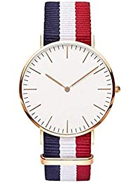 3fc3f761540 Star Villa Round Dial Premium Quality Series Analogue White Dial  White Blue Red Fabric Strape Fashion Wrist Watch…
