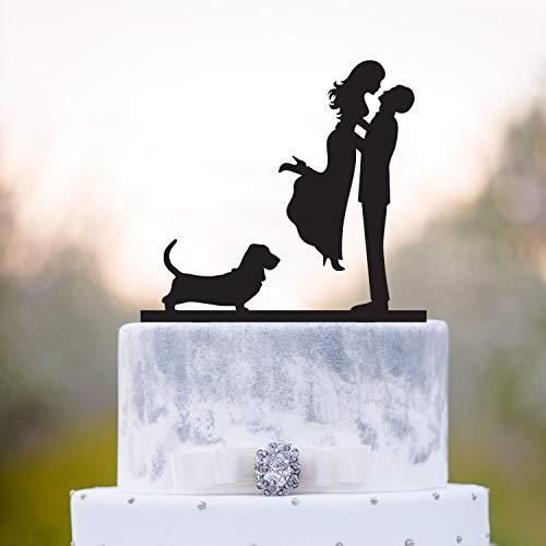 Ethelt5IV Cake Topper DogHochzeitstorte Topper mit HundBasset Jagdhund Hochzeitstorte TopperBasset Hundekuchen Top mit Hundebasset hounda17