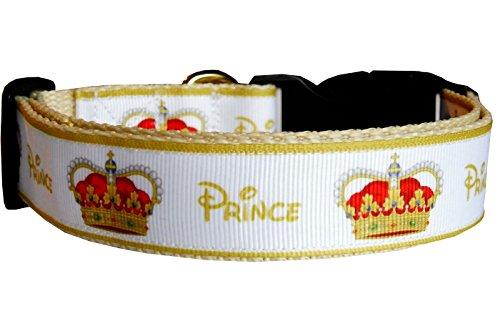 Hundehalsband Prinz Krone Prince beige-gold Rüde Nylon Halsband Halsung Band Klick-Schnalle verstellbar 38 - 53 cm x 2,5 cm