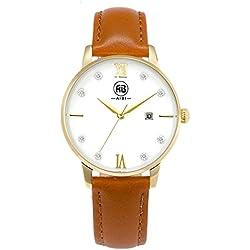 AIBI Wasserdicht Damen-Armbanduhr Analog Quarz Leder Gold AB51001-6