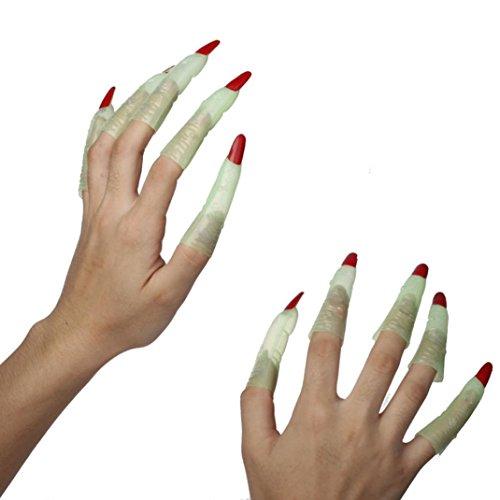 en Partei Erscheinen Maskerade Kunststoff Plastiklustige Hexe Zombie Terror Nagel Finger Kappen Satz (Zombie Photo Booth)