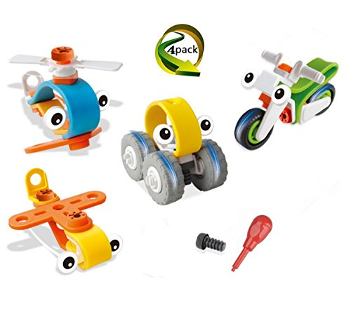Shelley commerce 4 Pack DIY Stem Building Blocks toys Preschool Educational creative Construction Stacking Toys (Motorcycle, Helicopter, car, Plane) for 3+ kid's Birthday, Party, Christmas gift